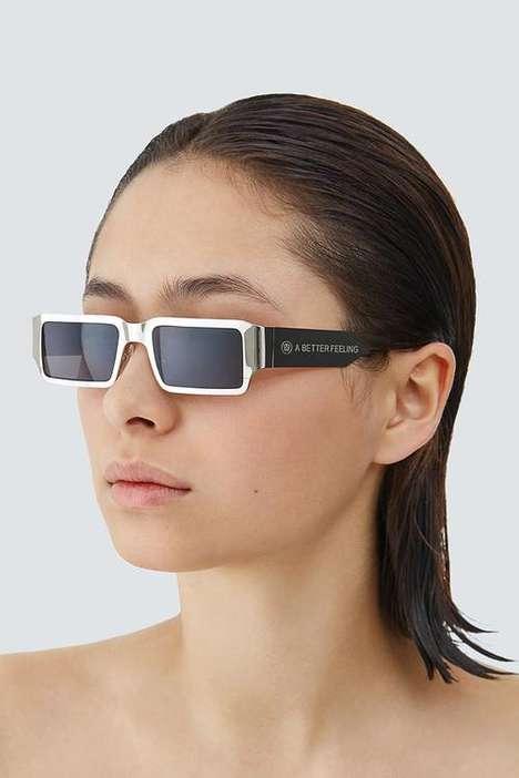 Unisex Polished Steel Sunglasses