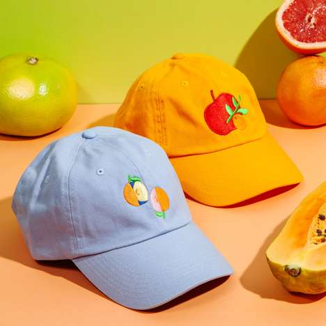 Fruit-Embroidered Cap Accessories