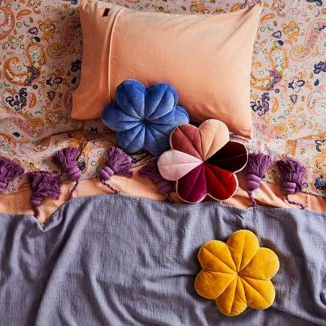 Flower-Shaped Velvet Cushions