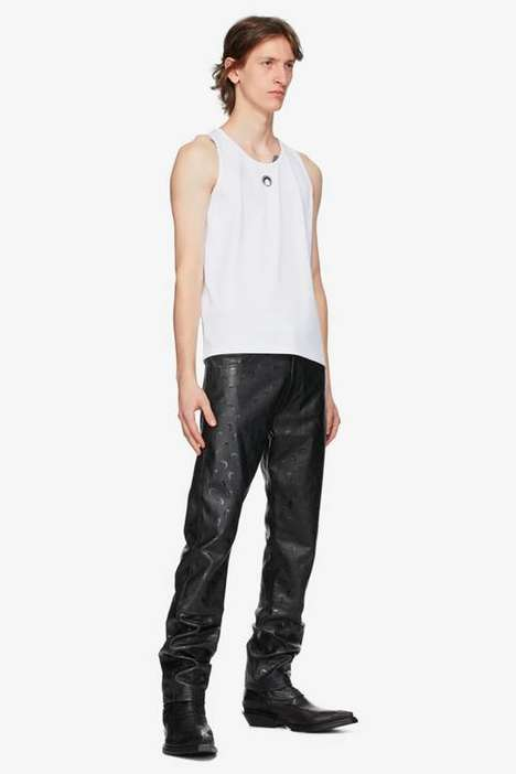 Moon-Accented Leather Pants