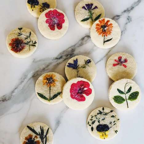 Pressed Flower Shortbread Cookies
