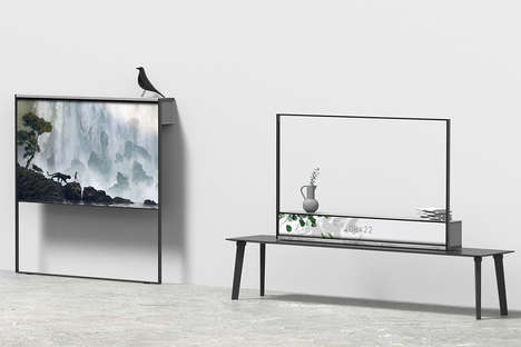 Shelf-Equipped Rollable TVs
