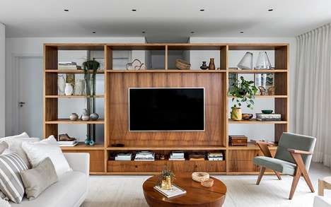 Wooden TV-Paired Room Dividers