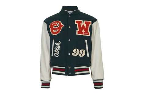 Patch-Adorned Varsity Jacket