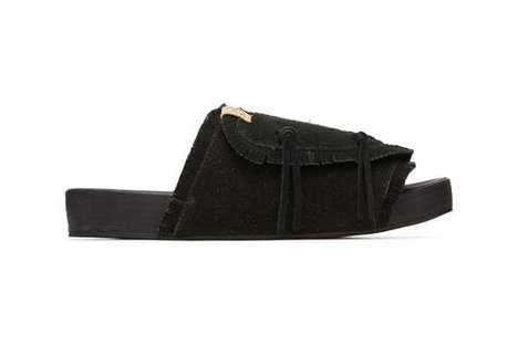 Supple Suede Frayed Sandals