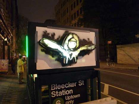 Illuminated Graffiti - New Guerrilla Street Art From Posterchild Fights City Debate