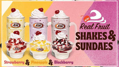 Fruity Soft Serve Sundaes - A&W is Serving Up New Real Fruit Shakes and Real Fruit Sundaes