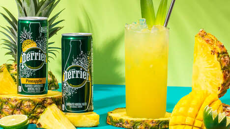 Pineapple-Flavored Canned Seltzers - Perrier Has a New Pineapple-Flavored Carbonated Mineral Water