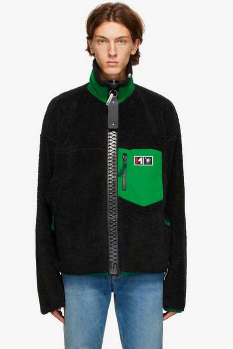 Exaggerated Zipper Fleece Jackets