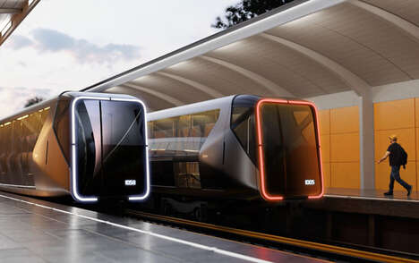 Futuristic Video-Displaying Trains