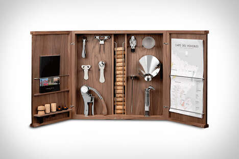 The L'atelier du Vin Wine Tools Cabinet is Handmade in France