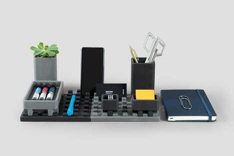 Brutalist Concrete Desktop Organizers