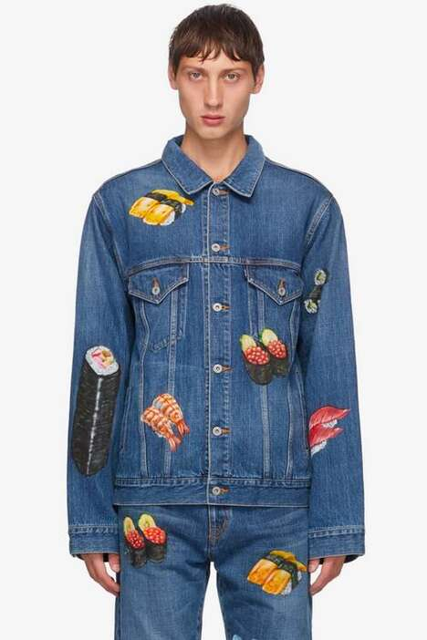Food Hand-Painted Denim Fashion