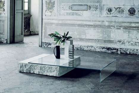 Balanced Glass Limestone Tables