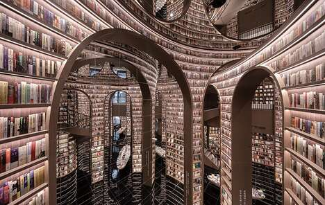 Whimsical Mirrored Bookstores