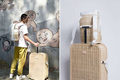 Woven Basket-Like Suitcases