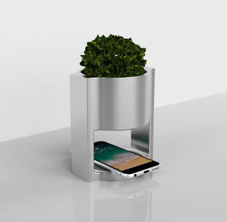 Device-Charging Desktop Planters