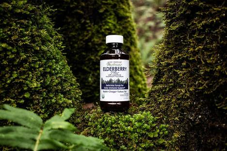 Mushroom-Elderberry Syrups