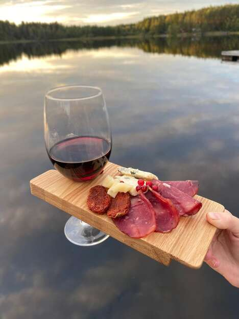 Wine-Holding Snack Trays