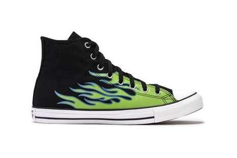 Vibrant Flame-Motif Sneakers