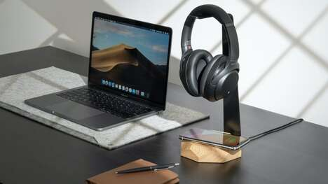 Smartphone-Charging Headphone Stands