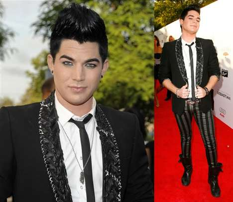 Striped Male Pants - Adam Lambert Rocks 2-Tone Tights at Young Hollywood Awards 2009