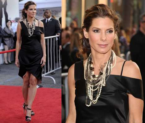 Over-Accessorizing - Sandra Bullock Stacks Necklaces at Movie Premier