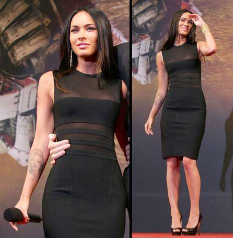Transparent Red Carpet LBDs - Megan Fox Rocks Black Herve Leroux Dress at Premiere