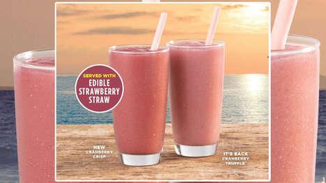 Edible Smoothie Straws : Edible Strawberry Straw 1