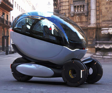 Futuristic Three-Wheel Transport Pods