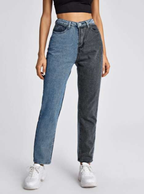 Two-Toned Straight Leg Jeans
