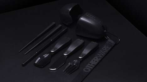 Demure Plastic Alternative Cutlery - The OTHERWARE Pebble Triple Black Portable Cutlery Set is Chic