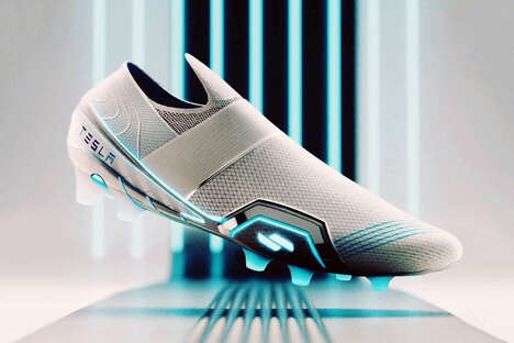 Electroluminescent Football Shoes - The Conceptual Tesla Football Shoes are Demurely Futuristic