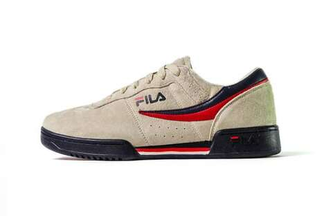 80s-Themed Suede Tennis Shoes