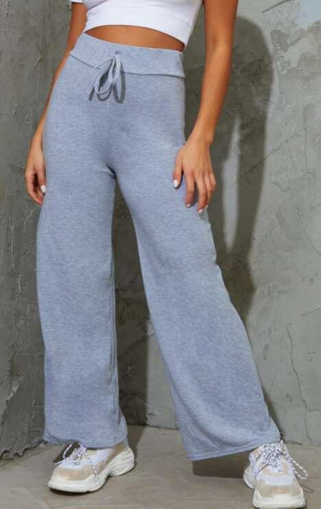 Drawstring Jersey Wide Leg Joggers