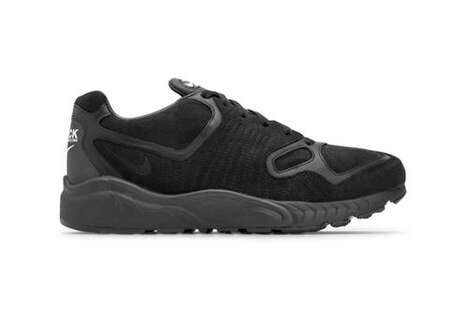All-Black Waffle Outsole Sneakers