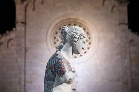 Tattooed Marbled Statue Displays