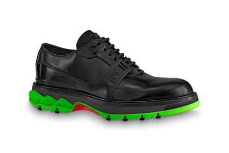 Rubberized Luxe Derby Trainers