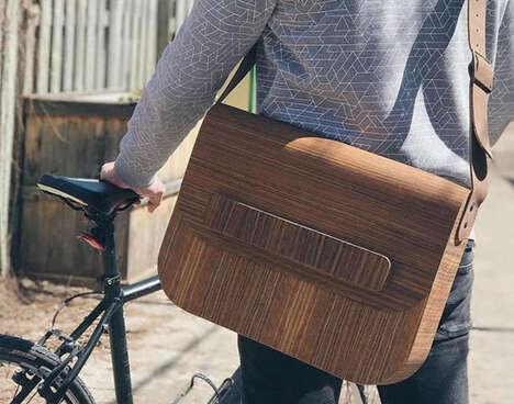Wooden Veneer Messenger Bags