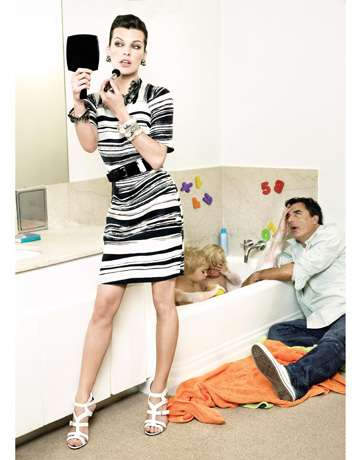 Mr. Mom Editorials - Chris Noth Steps into Stay-at-Home Parenthood for Harper's Bazaar