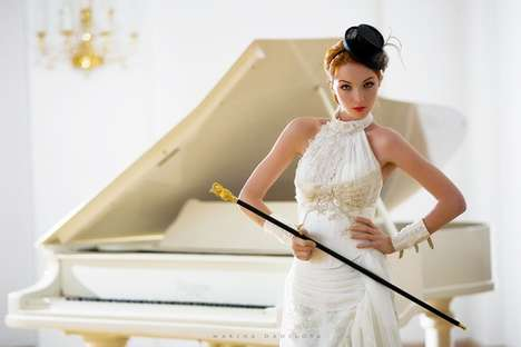 Marina Danilova's Wedding Shoot Adds Tiny Top Hat & Pimp Cane