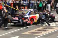 Times Square Pit Stops - Red Bull and NASCAR Pull Hilarious Stunt in NYC