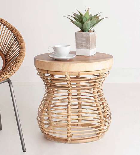 Rustic Rattan Side Tables