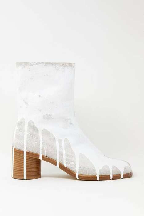 Paint-Splattered Split-Toe Boots