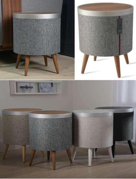 Drum-Like Side Table Speakers