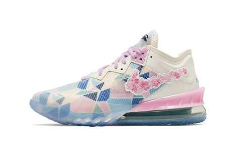 Cherry Blossom-Themed Basketball Shoes