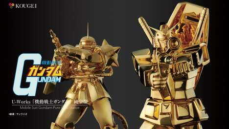 Solid Gold Robot Statues