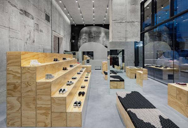 Industrial Plywood Shoe Displays