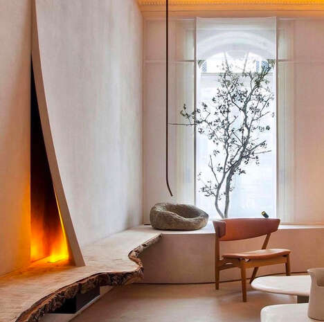 Japanese-Influenced Imperfect Fireplaces