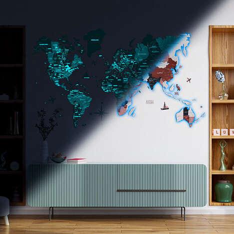 Luminescent Wooden World Maps